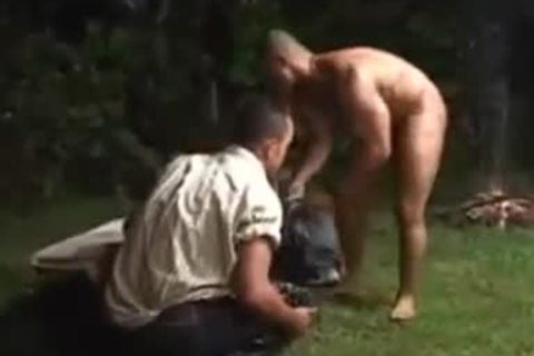 outdoors Interracial anal drilling & Cumming