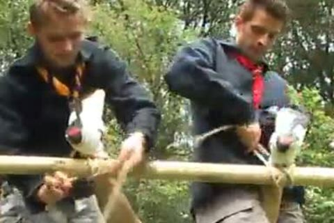 legal age teenager Scouts bunch-sex Outdoor
