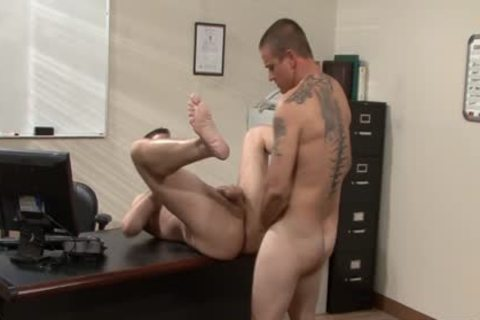 Tattooed homo males slamming In The Office
