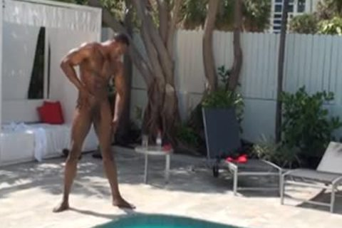 straight dark chap Wanks By The Pool