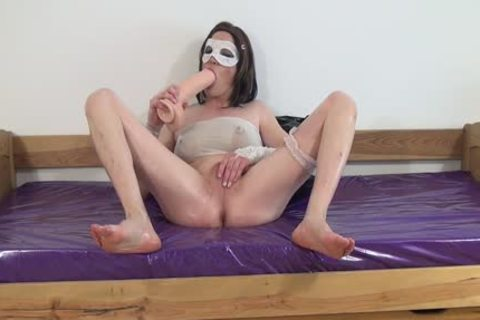#three-Crossdresser bunch-sex Oiled arsehole With large sex tool -arsehole, Sissy