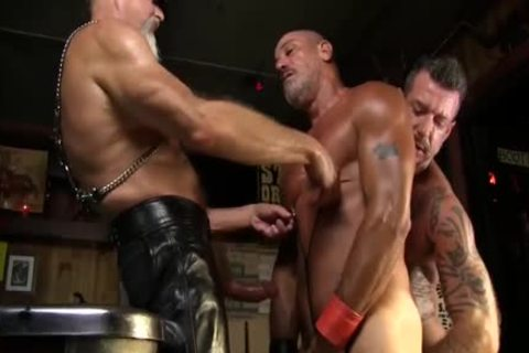 Leather Clad boyfrends plough Each Other On The Pool Table