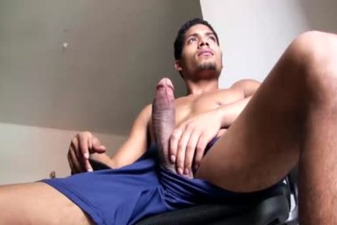 large Dicked fashionable Latino lad Is Working His big Load