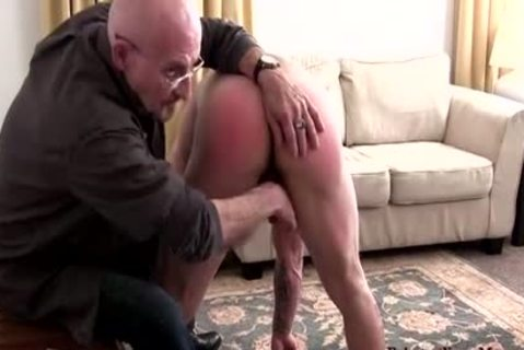 Muscle non-professional spanking With cumshot