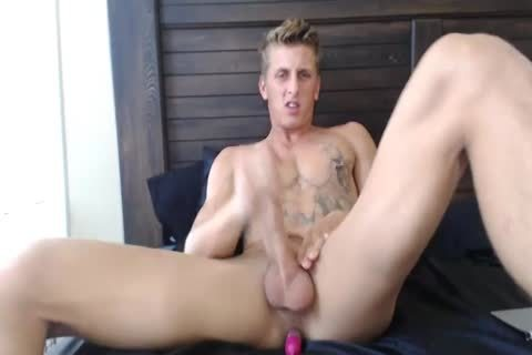 excited blond Monster Enjoys pooper dildo while Jerks Off