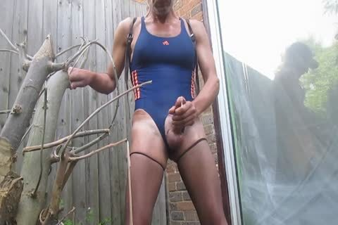 Outdoor spooge In Swimsuit And hose