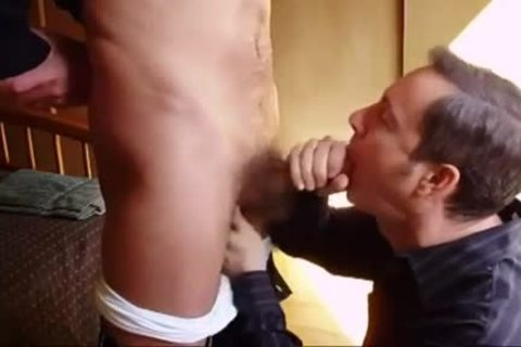 Making His excited paramour cum On His Knees