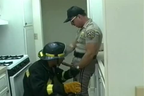 Police Office And Fireman Do nasty Things In The Kitchen