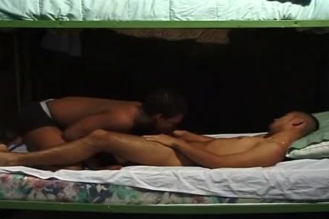 Two Aroused Soldiers Sneak A Quick blowjob In The Barracks