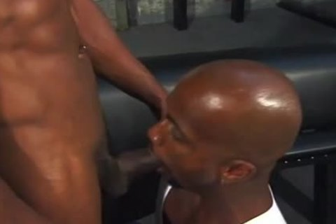 built black Adonis Empties His shlong On A moist wazoo