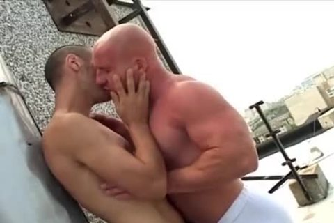 hairless oral Muscle man pounds His Skinny friend