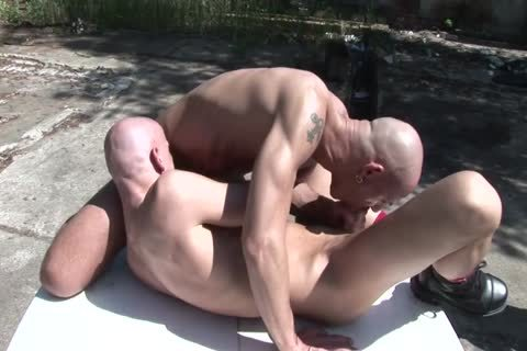 Two Bald excited men take up with the tongue Each Other's tasty pooper