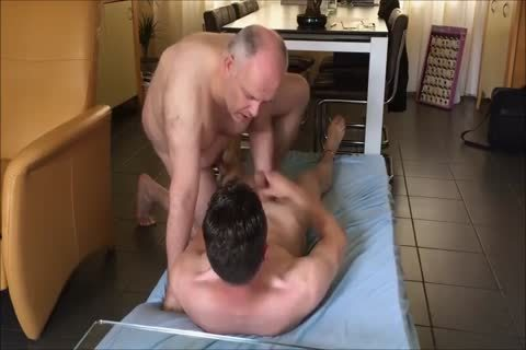 Bald handsome Daddy pounds Younger On The Floor