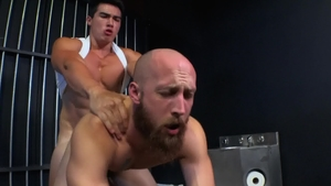 Asian Dustin Steele together with Axel Kane spanking in prison