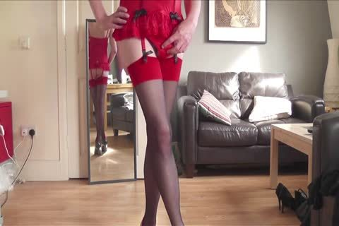 Red Corset, nylons, Heels, Plugged And Playing