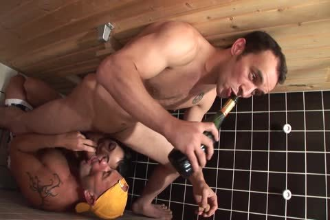 ambisexual twinks In A Sauna With sexy brunette