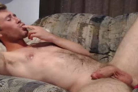 Blond lad Masturbates And Swallows His Own ball batter