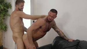 IconMale.com: Tattooed Wesley Woods gets ass licked in office