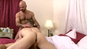 Icon Male: Adam Russo beside hairy Wolf Hudson threesome