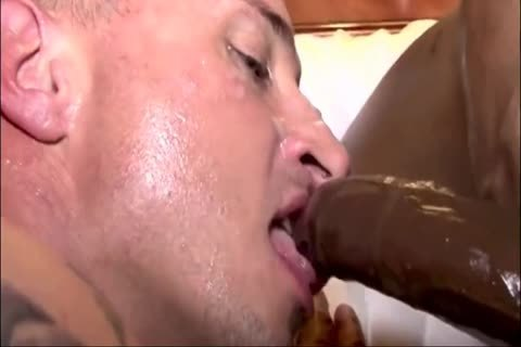 White fellow receives Creampied By Two black rods